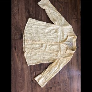 Yellow 3/4 sleeve collared blouse